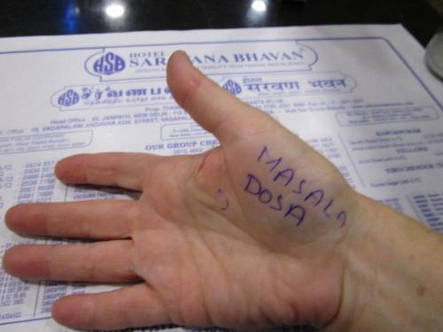 Travel agent Romey sent me to lunch wfter writing his recommendation on my hand.