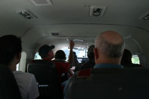 Inside the plane.